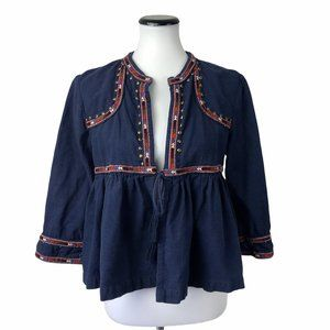 Lucky Brand Tie Front Cardigan Embroidered #147